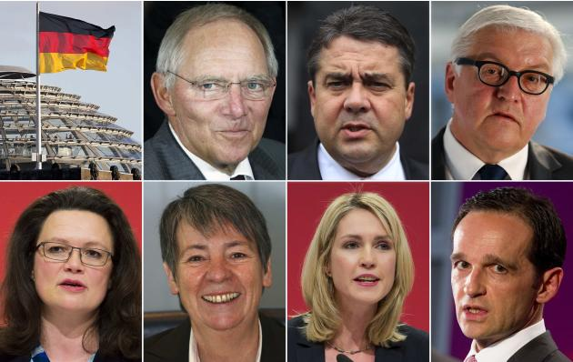 A combination of file pictures shows German politicians Schaeuble, Gabriel, Steinmeier, Nahles, Hendricks, Schwesig and Maas