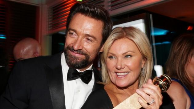 Hugh Jackman and Deborra-Lee Furness pose during NBC Universal's Golden Globes Post-Party Sponsored by Fiat and Hilton held at the Beverly Hilton Hotel on January 13, 2013 -- Getty Premium