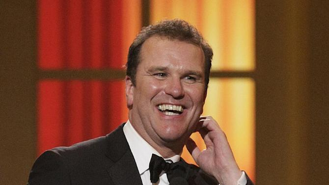 """FILE - In this June 13, 2010 file photo, Douglas Hodge is shown after winning the award for Best Actor in a Musical for his role in """"La Cage aux Folles"""" at the 61st Annual Tony Awards in New York. Hodge will return to Broadway to play """"Cyrano"""" in a new production of Cyrano de Bergerac. The limited engagement will open officially on Oct. 11, 2012, at the American Airlines Theatre on Broadway. (AP Photo/Richard Drew, file)"""