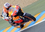 Australian World motorcycling champion Casey Stoner drives his Honda during a free practice session of the French MotoGP Grand Prix at the Le Mans circuit in western France. Stoner on Friday dominated the first and second practice sessions for the French Moto GP at Le Mans, after his shock announcement that he will quit the sport