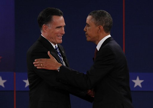 Republican presidential nominee Romney and U.S. President Obama shake hands at the conclusion of the second U.S. presidential debate in Hempstead