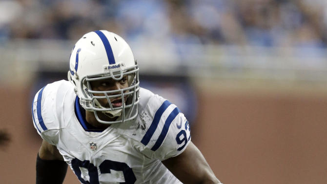 FILE - In this Dec. 2, 2012, file photo, Indianapolis Colts outside linebacker Dwight Freeney follows the action during the third quarter of an NFL football game against the Detroit Lions at Ford Field in Detroit. The San Diego Chargers have agreed to a two-year deal with Freeney that could be worth $13.35 million. (AP Photo/Paul Sancya, File)