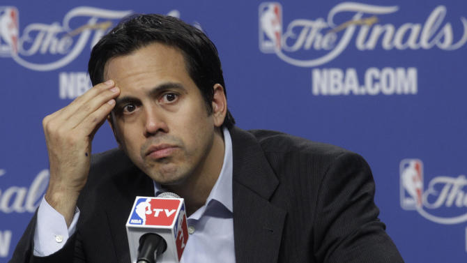 Miami Heat head coach Erik Spoelstra participates in a news conference after Game 1 of the NBA finals basketball series against the Oklahoma City Thunder, Tuesday, June 12, 2012, in Oklahoma City. The Thunder won 105-94. (AP Photo/Sue Ogrocki)