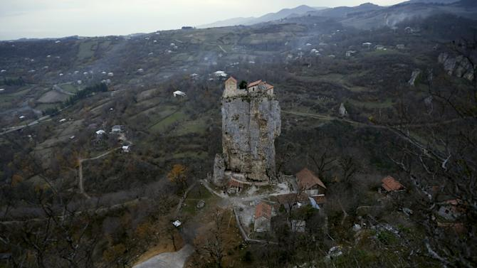 A church is seen on top of the Katskhi Pillar, a rock mass about 40 meters high, in the village of Katskhi
