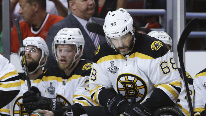 Boston Bruins right wing Jaromir Jagr (68) reacts after a goal by the Chicago Blackhawks in the second period during Game 5 of the NHL hockey Stanley Cup Finals, Saturday, June 22, 2013, in Chicago. (AP Photo/Nam Y. Huh)