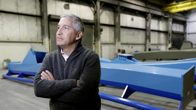 Cedar Fair CEO Matt Ouimet is interviewed after touring the Clermont Steel Fabricating plant, Wednesday, Jan. 9, 2013, in Batavia, Ohio. Ouimet is encouraged about the company's future and the industry and believes one key is keeping people happy. He said the company's new dramatic roller coaster under construction in southwest Ohio will help achieve that goal. (AP Photo/Al Behrman)