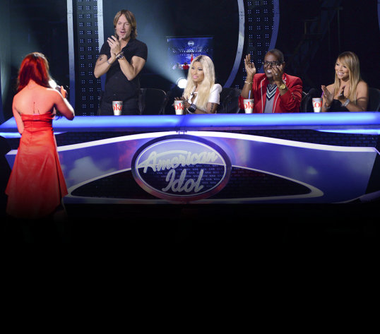 AMERICAN IDOL: Sudden Death Round. L-R: Keith Urban, Niki Minaj, Randy Jackson and Mariah Carey. CR: Michael Becker / FOX. Copyright: FOX.