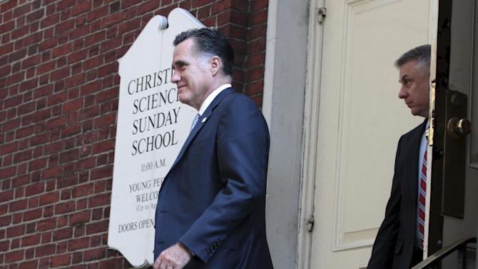 Republican presidential candidate, former Massachusetts Gov. Mitt Romney is followed by a Secret Service agent as he leaves a finance event on the Upper East Side of Manhattan, Thursday, Aug. 9, 2012.  (AP Photo/Mary Altaffer)