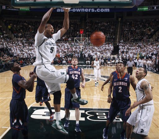 Appling-led No. 13 Michigan St tops Illinois 80-75