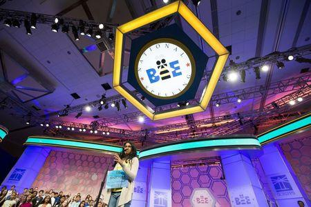 "Snehaa Ganesh Kumar of Folsom, California, spells ""Hippocrene"" during the final round of the 88th annual Scripps National Spelling Bee"