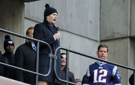 New England Patriots quarterback Brady speaks to fans gathered for a send off rally for the team outside City Hall in Boston