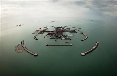 An aerial view shows artificial islands on Kashagan offshore oil field in the Caspian sea