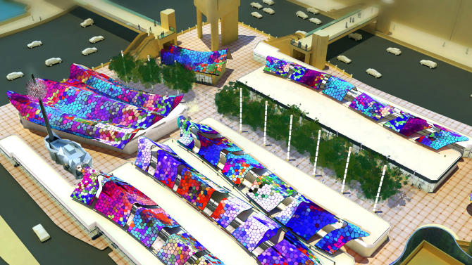 This overhead view of an architect's model as seen from Bally's south tower at Las Vegas Blvd and Flamingo Road, provided by the developer, shows Grand Bazaar Shops, a new Las Vegas mall. Sin City, where everything must mirror something else, is getting the new mall modeled on Turkey's Grand Bazaar. Construction on the Grand Bazaar Shops began the week of Dec. 2, 2013, and it will open outside of Bally's hotel-casino on the Las Vegas Strip in fall, 2014. (AP Photo/Grand Bazaar Shops)