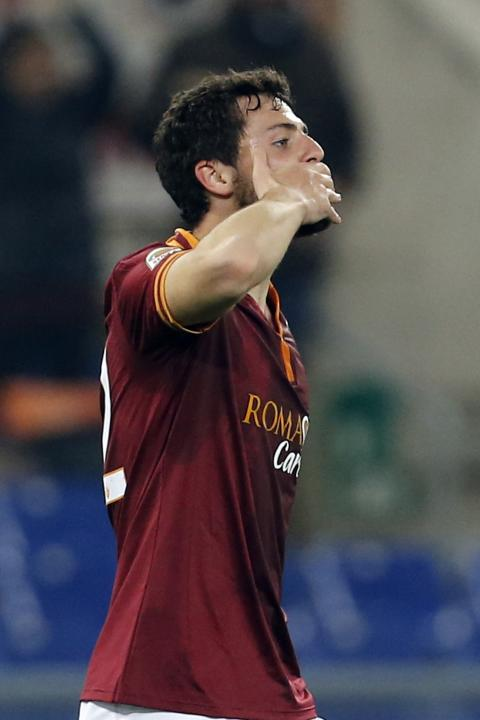 AS Roma's Destro celebrates after scoring against Udinese during their Italian Serie A soccer match in Rome