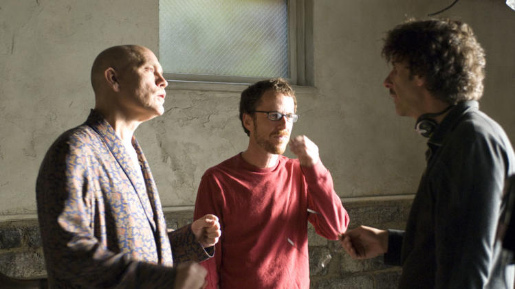 John Malkovich Joel Coen Ethan Coen Burn After Reading Production Stills Focus Features 2008