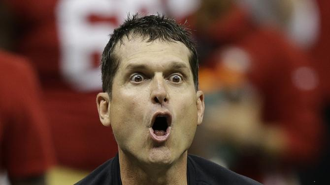 San Francisco 49ers head coach Jim Harbaugh protests a non-call by the officials after a fourth down play during the second half of the NFL Super Bowl XLVII football game against the Baltimore Ravens, Sunday, Feb. 3, 2013, in New Orleans. (AP Photo/Gene Puskar)