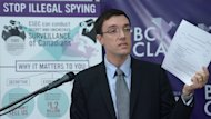 Josh Paterson, executive director of the B.C. Civil Liberties Association, addresses a news conference on illegal spying in Vancouver, Tuesday, Oct.22, 2013. THE CANADIAN PRESS/Jonathan Hayward