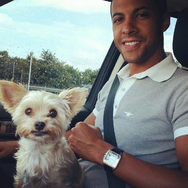 Celebrity Twitpics: The Saturdays' Rochelle Wiseman tweeted this cute photo of her new husband, Marvin Humes, and their cute dog Tiger. We wonder whether they'll be adding a baby to their little famil