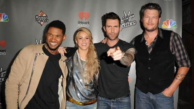 Usher, Shakira, Adam Levine and Blake Shelton arrive at the NBC's 'The Voice' Season 4 Premiere at House of Blues Sunset Strip on May 8, 2013 in West Hollywood, Calif. -- Getty Premium