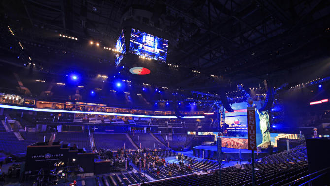 The main floor of Time Warner Cable Arena is shown during the public unveiling of Democratic National Convention's facilities in Charlotte, N.C., Friday, Aug. 31, 2012. (AP Photo/Chuck Burton)
