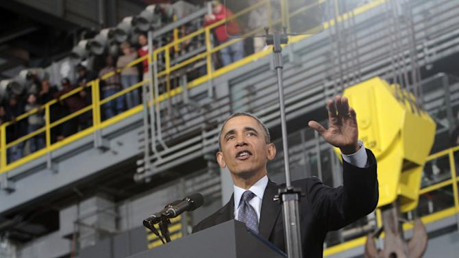 President Barack Obama speaks  at Newport News Shipbuilding Tuesday, Feb. 26, 2013, as part of his public campaign to sway Congress to block automatic spending cuts that are scheduled to begin on March 1, in defense and domestic programs.  (AP Photo/The Virginian-Pilot, Steve Earley)  MAGS OUT