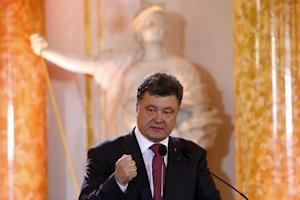 Ukraine's President-elect Poroshenko addresses during the Solidarity Prize award ceremony at the Royal Castle in Warsaw