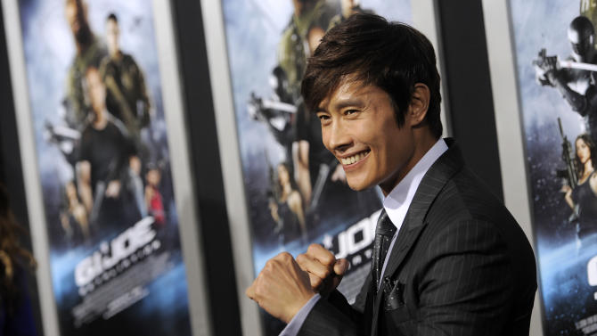 """South Korean actor Byung-hun Lee, a cast member in """"G.I. Joe: Retaliation,"""" poses at the Los Angeles premiere of the film at the TCL Chinese Theatre on Thursday, March 28, 2013 in Los Angeles. (Photo by Chris Pizzello/Invision/AP)"""