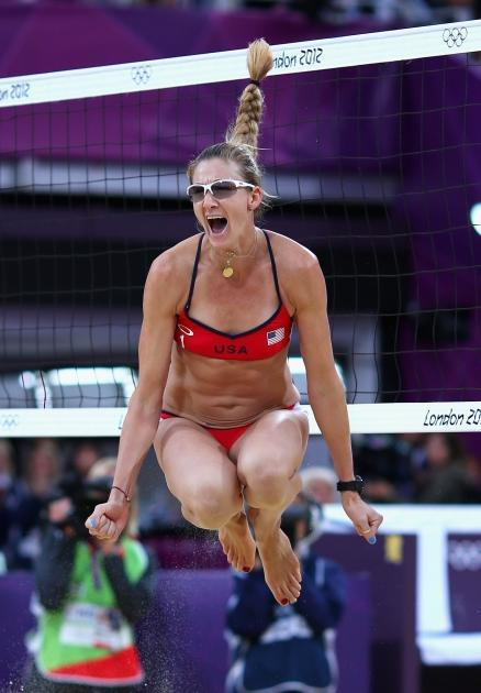 Kerri Walsh Jennings of the United States celebrates as she and Misty May-Treanor defeat China during the Women's Beach Volleyball Semifinals on Day 11 of the London 2012 Olympic Games at Horse Guards Parade August 7, 2012 -- Getty Images