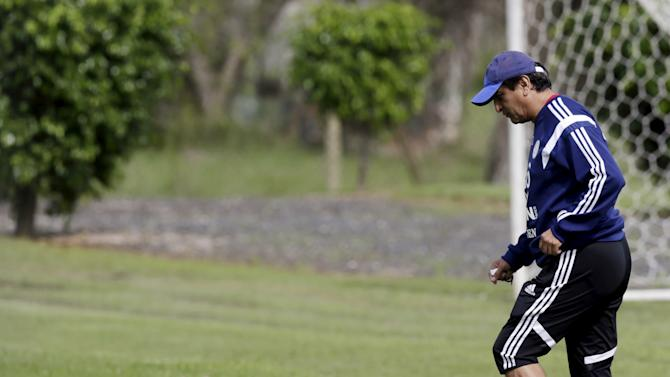 Diaz, head coach of Paraguay's national soccer team, attends a training session in Ypane, near Asuncion