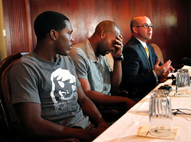 Darius McClintock-Hunter and Torii Hunter deny his involvement in sexual assault at a 2012 press conference — AP