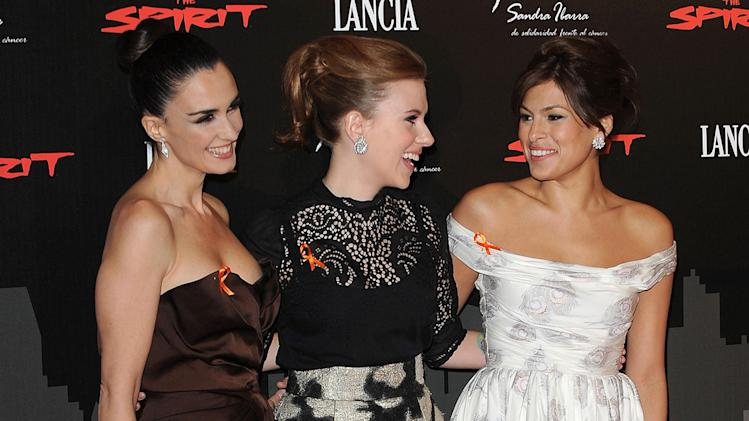 The Spirit benefit cocktail party Madrid Spain 2008 Paz Vega Scarlett Johansson Eva Mendes