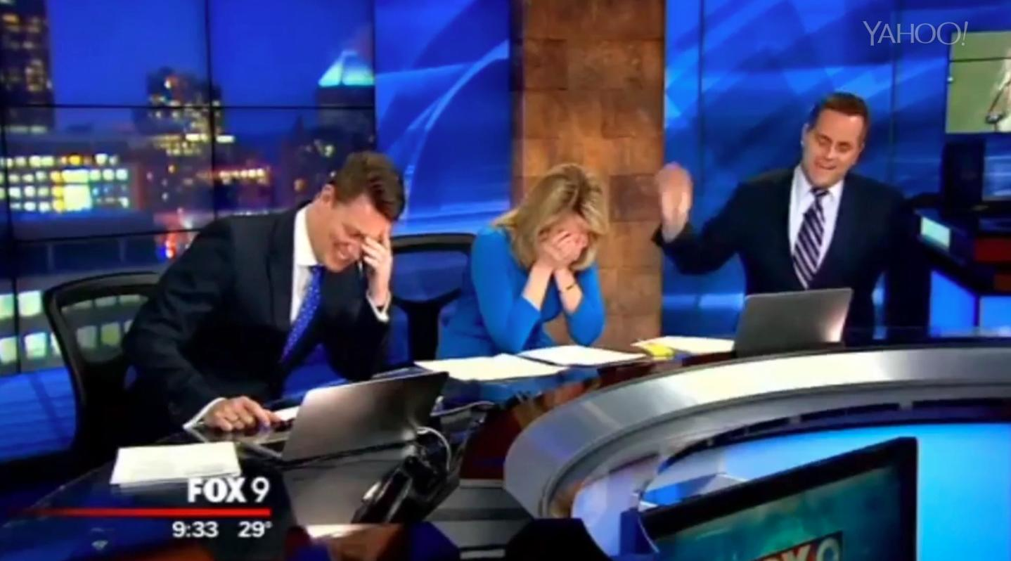 Weatherman discovers coat hanger in his jacket on air!