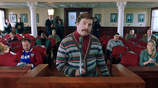 "This film image released by Warner Bros. shows Zach Galifianakis as Marty Huggins in a scene from ""The Campaign."" (AP Photo/Warner Bros.)"