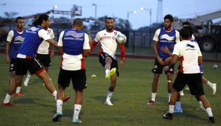 Tunisia's soccer team players attend a training session in Bata