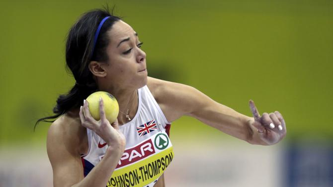 Johnson-Thompson of Britain competes in the women's pentathlon shot put event during the IAAF European Indoor Championships in Prague