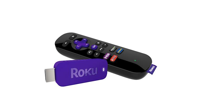 This undated image provided by Roku, shows the Roku Streaming stick. Roku is getting into an Internet video-streaming stick fight with Google's Chromecast.Like the similarly shaped Chromecast, Roku's thumb-sized device plugs into a TV's HDMI port and feeds Internet video through a Wi-Fi connection. (AP Photo/ Roku)