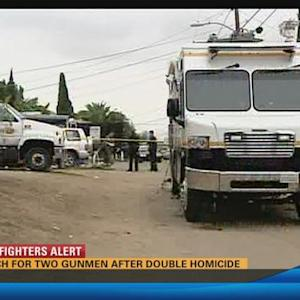 Two dead, one wounded; police searching for gunmen