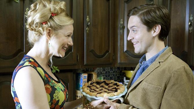 "This film image released by Radius/The Weinstein Company shows Laura Linney, left, and Tobey Maguire in a scene from, ""The Details."" (AP Photo/Radius/The Weinstein Company, Jan Cook)"