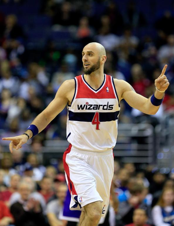 Marcin Gortat of the Washington Wizards pictured during a game at Verizon Center on February 9, 2014 in Washington, DC