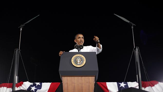 President Barack Obama speaks during a campaign event at Desert Pines High School, Sunday, Sept. 30, 2012 in Las Vegas. (AP Photo/Pablo Martinez Monsivais)