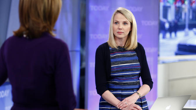 "This image released by NBC shows Yahoo CEO Marissa Mayer on NBC News' ""Today"" show, Wednesday, Feb. 20, 2013 in New York to introduce the website's redesign. Yahoo is renovating the main entry into its website in an effort to get people to visit more frequently and linger for longer periods of time. The long-awaited makeover of Yahoo.com's home page is the most notable change to the website since the Internet company hired Marissa Mayer as its CEO seven months ago. The new look will start to gradually roll out in the U.S early Wednesday. (AP Photo/NBC Peter Kramer/NBC/NBC NewsWire)"