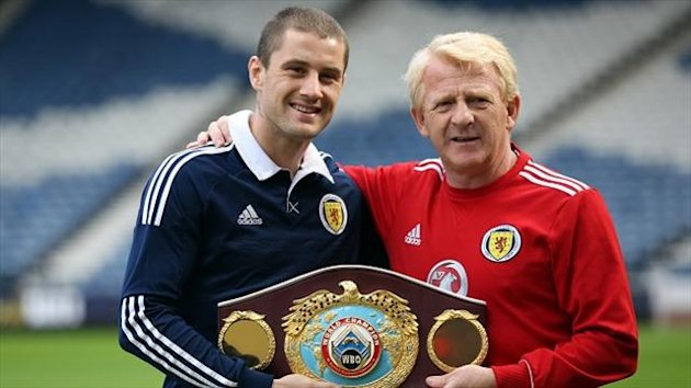 Gordon Strachan, right, and Ricky Burns are hoping to deliver a successful weekend for Scottish sport