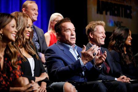 "Host Arnold Schwarzenegger and cast members participate in a panel for ""The New Celebrity Apprentice"" in Universal City"