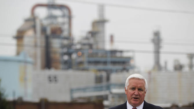 Pennsylvania Gov. Tom Corbett speaks during a news conference in front of a ConocoPhillips refinery, Tuesday, May 1, 2012, in Trainer, Pa. Delta Air Lines Inc. Monday, said it will buy the refinery as part of an unprecedented deal that it hopes will cut its jet fuel bill. (AP Photo/Matt Rourke)