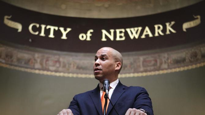 Newark Mayor Corey Booker speaks during a ceremony at City Hall in Newark, N.J., Thursday, Feb. 23, 2012.    Booker said he was offended by the NYPD's secret surveillance of his city's Muslims. (AP Photo/Seth Wenig)