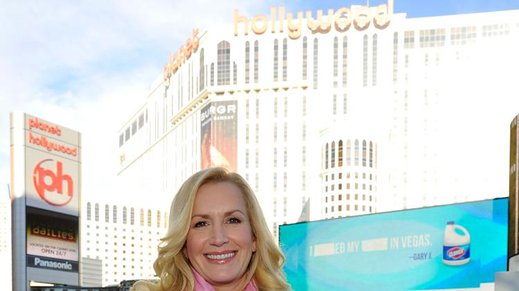 IMAGE DISTRIBUTED FOR CLOROX - Angela Kinsey hits the Las Vegas Strip in search of messy moments for Clorox's Bleach It Away program on Tuesday, Feb. 12, 2013 in Las Vegas. (Jeff Bottari / AP Images for Clorox)