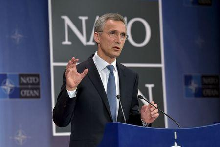 NATO Secretary General Stoltenberg addresses a news conference in Brussels