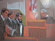 A US man, Adis Medunjanin (C-L), pictured here in a 2010 courtroom sketch, was sentenced to life in prison Friday for plotting to turn himself into a suicide bomb in the city's subway as revenge for American attacks in Afghanistan