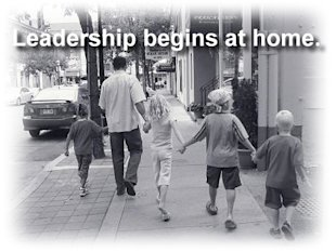 Leadership Begins at Home image Chuck and 4 kidlets on Yonge Aug 20 06 Black and White sml