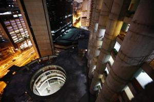 """A view of the lobby from the top of the """"Tower of David"""" skyscraper in Caracas"""